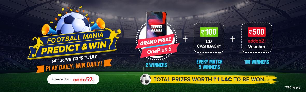 Football Mania Predict & Win| Grand Prize OnePlus 6 | Prizes worth